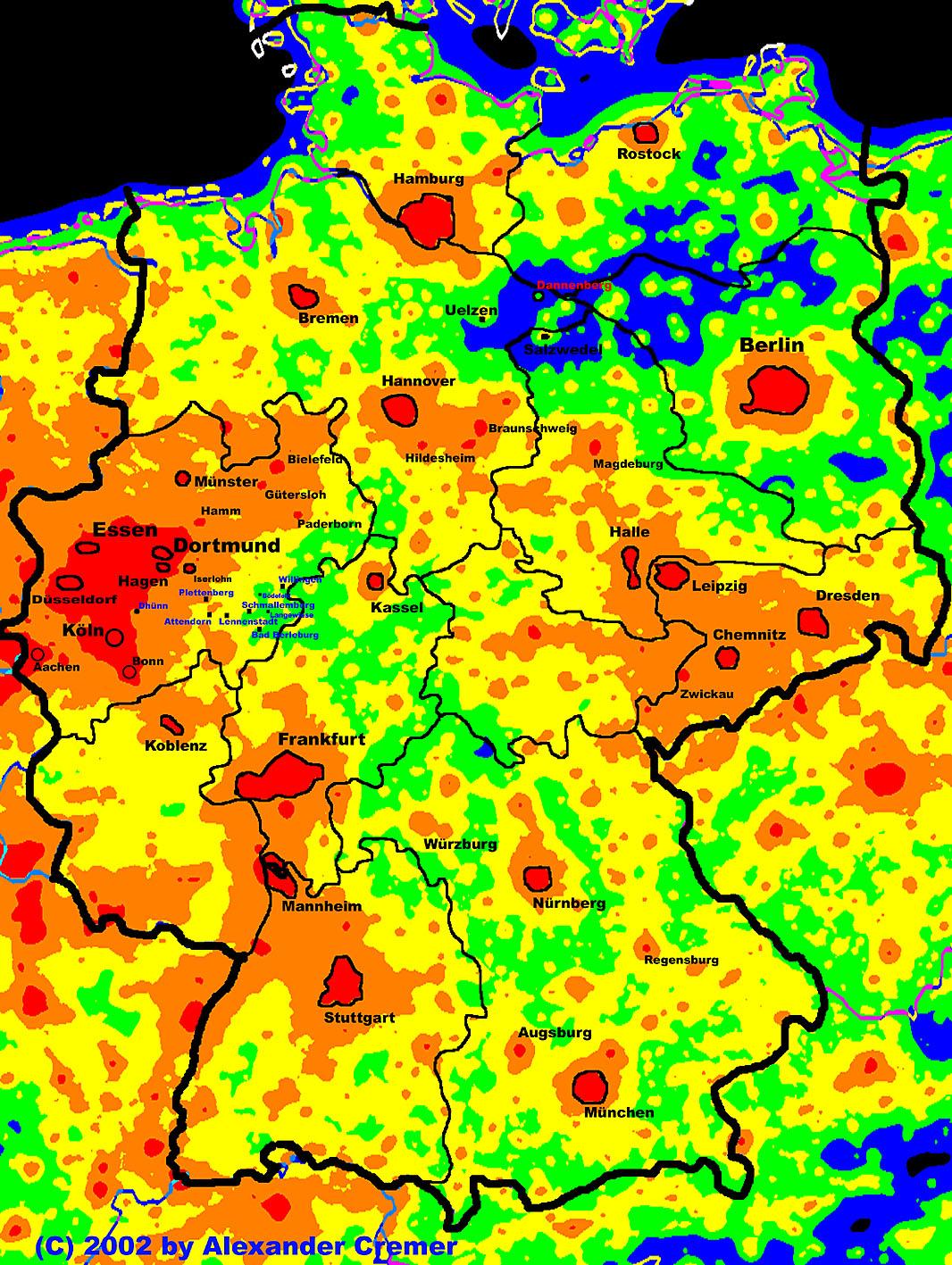 lichtverschmutzung deutschland karte Lichtverschmutzung in Deutschland
